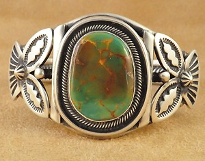 Ajax Turquoise cabochon in sterling cuff