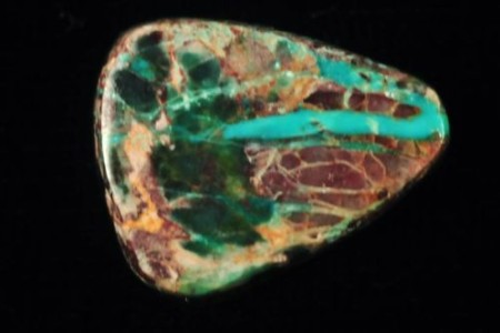 Bisbee turquoise cabochon, multi-color running from blue to green