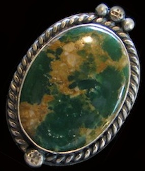 Cerrillos Turquoise cabochon in sterling bezel