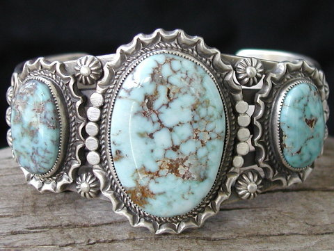 Dry Creek Turquoise in Sterling Cuff
