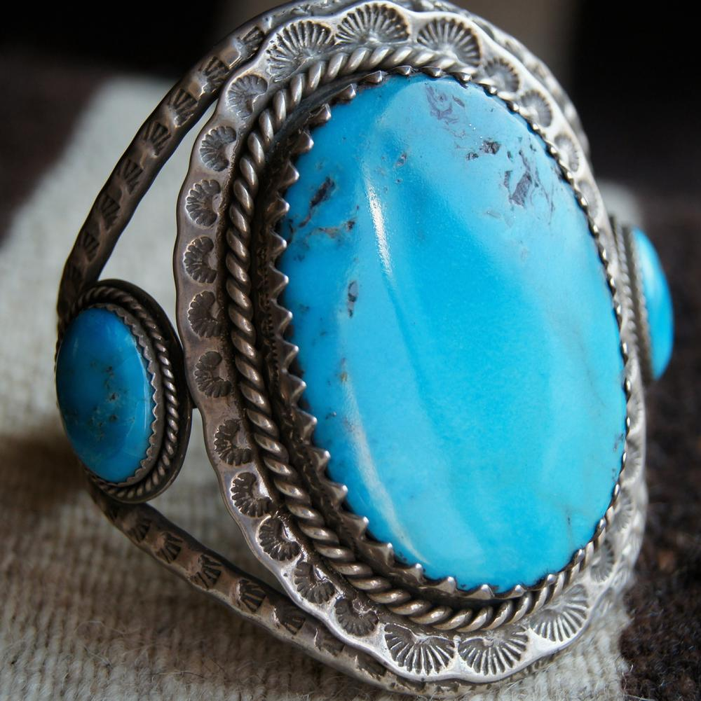 Easter Blue Turquoise in sterling cuff