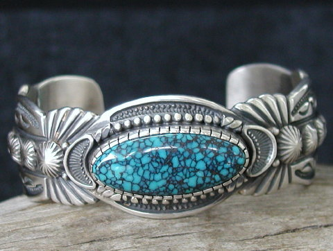 Godber Burnham turquoise cabochon in sterling cuff