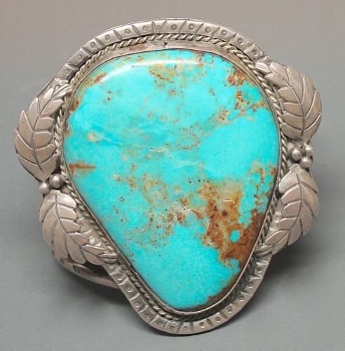 Nevada Blue Turquoise Cabochon in Sterling Cuff