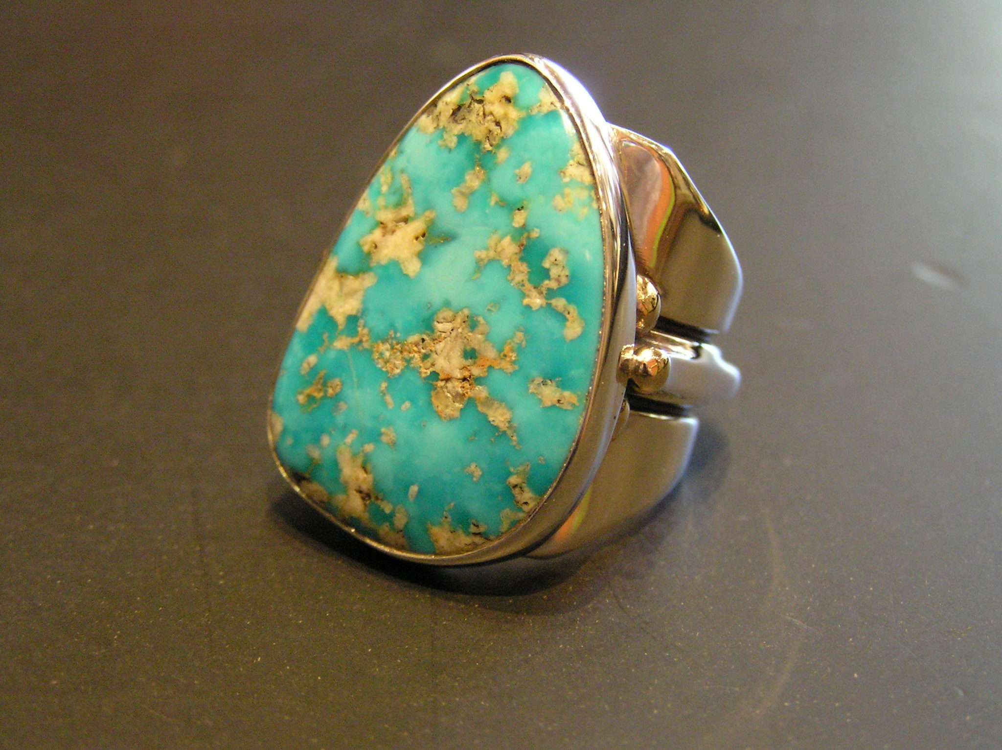 Stone Mountain Turquoise cabochon in sterling ring