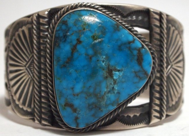 Stormy Mountain cabochon in sterling cuff
