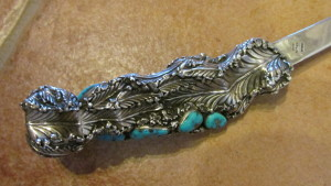 David Zachery hand crafted letter opener with Morenci Turquoise