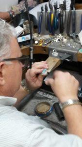 Sam Patania examines Bisbee ring construction