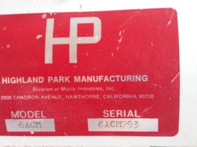 Highland Park Mfg. information decal